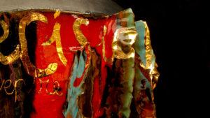 Scultura in ceramica Totem in Terzo Fuoco